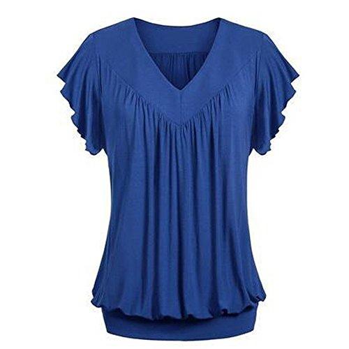 KUDICO Damen Oberteile T-Shirt Farbverlauf Plissee Kurzarm Sommer Rundhalsausschnitt Shirt Tribal Lässige Lose Bluse Tunika Tops(Blau 2, L)