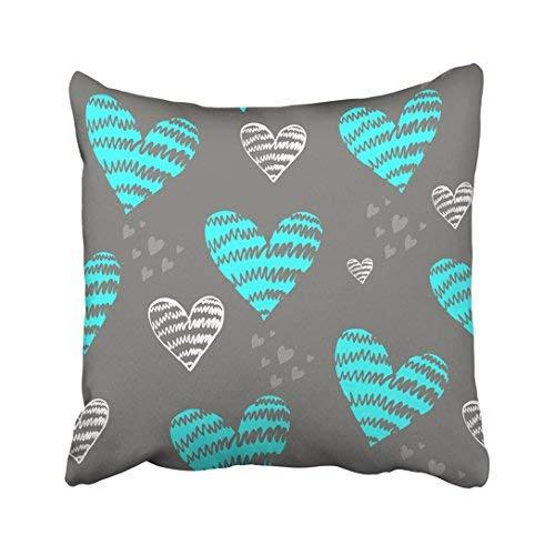 Funda de almohada decorativa para el hogar, 45 x 45 cm, color azul, diseño abstracto para niñas, romántico, corazones de amor repetidos, día de San Valentín, fundas de cojín cuadradas, 45 x 45 cm, para sofá, accesorio para el hogar