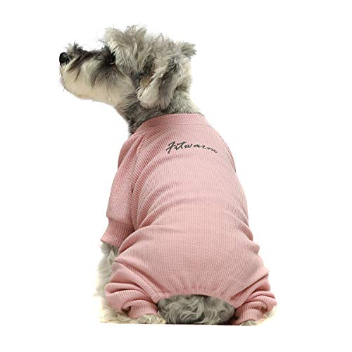 Fitwarm Basics 100% Cotton Lightweight Waffle Knit V-Neck Pet Clothes Dog Jumpsuits Pajamas Onesies Cat Outfits Pink XS