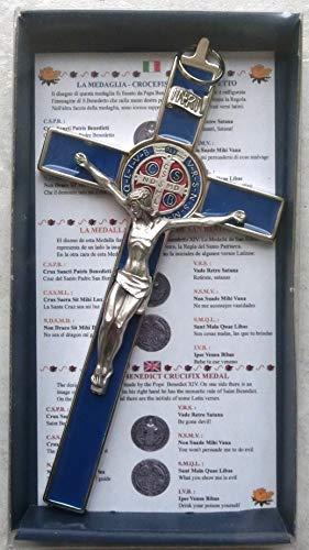 GTBITALY 10.004.11 Blu Croce di San Benedetto crocefisso Argento 20 cm medaglia smaltato a Mano con Scatola Regalo e Preghiera prete esorcismo esorcista nativita' Battesimo