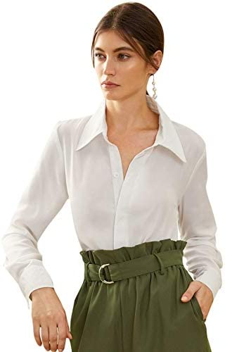 Floerns Women s Long Sleeve Button Up Shirts Chiffon Office Work Blouse Top White M product image
