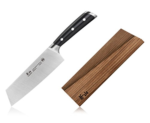 Cangshan TS Series 1020748 Swedish Sandvik 14C28N Steel Forged 7-Inch Nakiri Knife and Wood Sheath Set