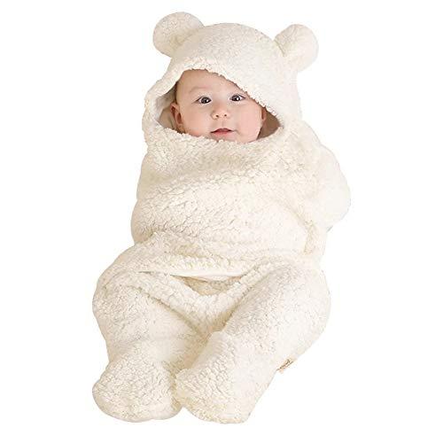 Sacco Nanna per Bebè, Wilecolly Sacco a Pelo per Neonati Riutilizzabile Lavabile Caldo e Simpatico Cartone Animato Accappatoio Caldo Pigiama Neonato(Bianca)