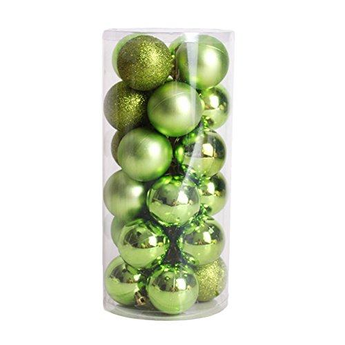 CHIC-24pcs Boules de noël pour décoration de Anniversaire - 4cm- Mats et Brillantes Sapin - Arbre de Noël (Vert)