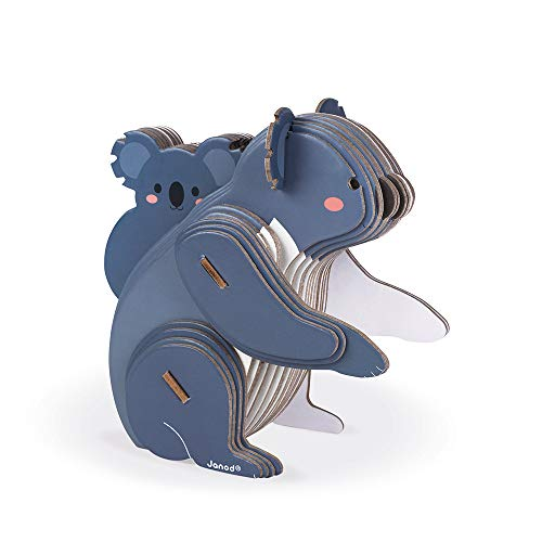 Janod J08614 3D-Tierpuzzle für Kinder Koala 42-teilig-Lernspiel-Entwicklung von Feinmotorik und Konzentration-Partnerschaft mit dem WWF-FSC-zertifizierte Pappe-Ab 6 Jahren