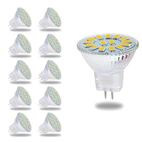 WXYC MR11 GU4 12V LED Warmweiß 3000K, 500LM, 120 ° Licht, 5W Äquivalent 50W Halogenlampe, Nicht dimmbar, 35mm MR11 GU4 LED Strahler für Küchen- / Flurmöbel, 10er-Set