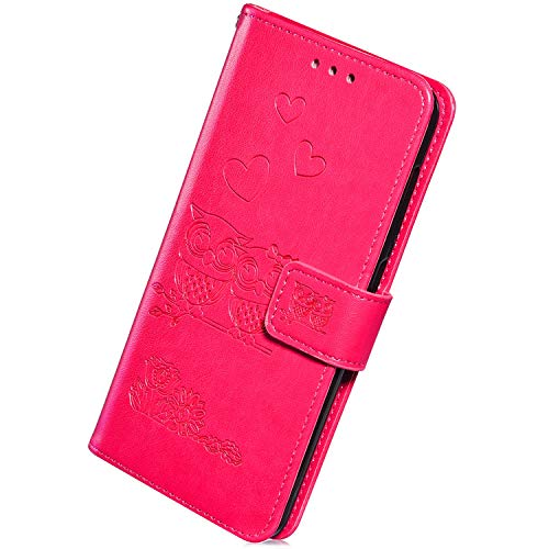 Herbests Kompatibel mit Samsung Galaxy A10 Hülle Handyhülle Retro 3D Eule Liebe Muster Lederhülle Brieftasche Leder Tasche Klapphülle Wallet Flip Case Ständer Kartenfächer Magnet,Rose Rot