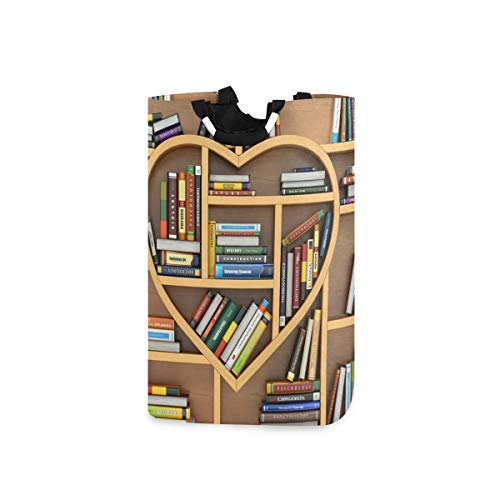 FELIZM Wäschekorb, Bücherregal, Bibliothek, Liebesherz, zusammenklappbar, tragbar, platzsparend, Wäschekorb, Aufbewahrung, schmutzige Kleidung für Badezimmer, Kinderzimmer
