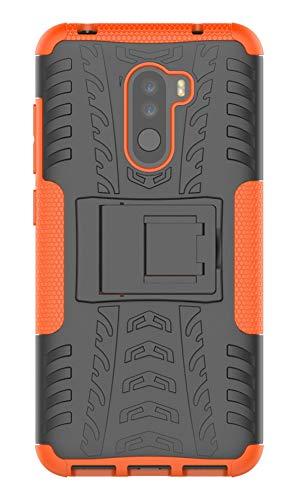 XINFENGDI Xiaomi Pocophone F1 Cover,Custodia Protettiva Morbido TPU + PC Anticaduta Antiscivolo AntiGraffio Antiurto Supporto Modello di Pneumatico Xiaomi Pocophone F1 - Arancione