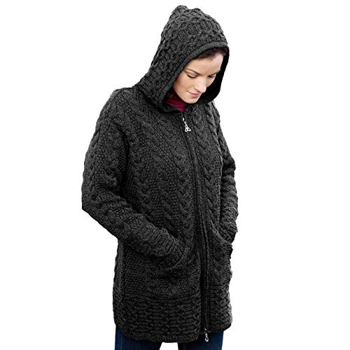 Hooded Coat with Celtic Knot Zipper Pull Charcoal