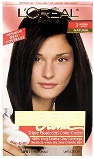 L'Oréal Paris Excellence Créme Permanent Hair Color, 3 Natural Black, 1 kit 100% Gray Coverage Hair Dye