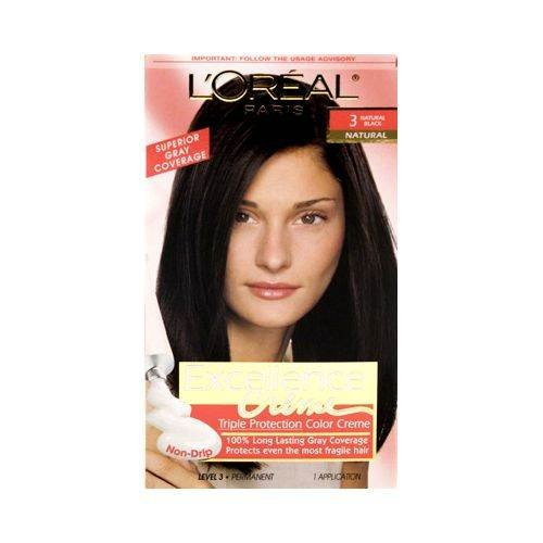 L'Oréal Paris Excellence Créme Permanent Hair Color, 3 Natural Black, 1 kit 100% Gray...