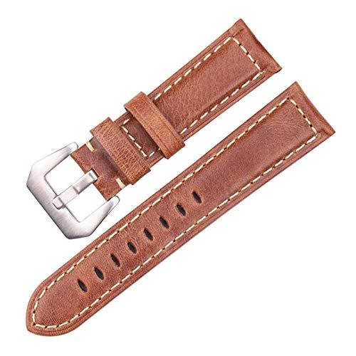 ZHHOOHAG Correas para Relojes Cuero Genuino de 20 mm 22 mm 24 mm Hombres marrón Oscuro de los Hombres de la Cuero de la Correa de la Correa de la Correa de los Accesorios Correas De Reloj