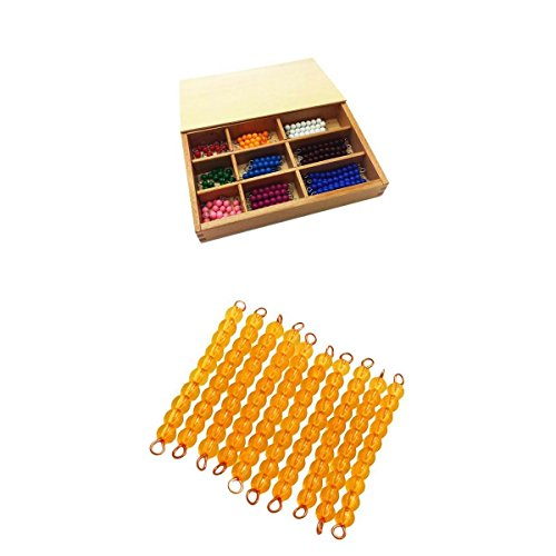 PETSOLA Montessori Lernspielzeug Mathematisches Material Bead Bar 1 100 Count Learning