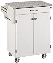 Home Styles Mobile Create-a-Cart White Finish Two Door Cabinet Kitchen Cart with Salt and Pepper Granite Top, Adjustable Shelving