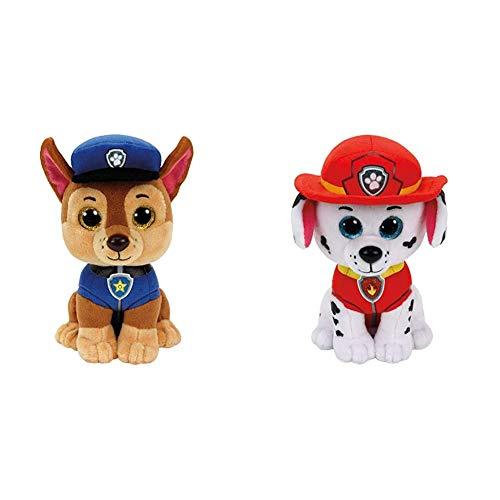 TY 96319 Shepherd Dog Aladdin Paw Patrol, Chase 24cm, braun & 96322 Dalmation Aladdin Paw Patrol, Marshall 24cm, Weiss/rot