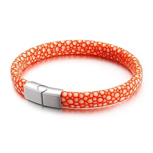 Daesar Pulsera Piel de Serpiente Pulsera para Hombre de Cuero Pulsera Naranja