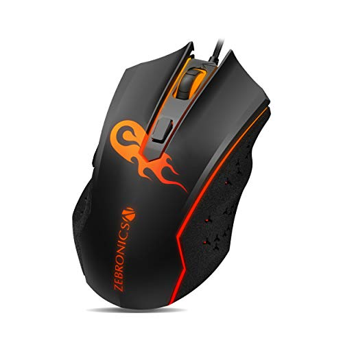 ZEBRONICS Zeb-Clash - Premium USB Gaming Mouse with 6 Buttons, High Resolution Gaming Sensor 3600 DPI, Mulitcolor LED
