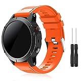 Topsic Bracelet de sport de remplacement à ajustement rapide 22mm Silicone doux pour montre connectée Garmin Fenix 5/Forerunner 935/Aproach S60 (pas adapté à Fenix 5X 5S), Orange