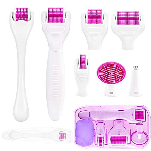 7 in 1 Derma Roller Microneedling Kit - Microneedle Roller For Home Skincare,Cosmetic Non-Invasive Micro Needle Tool,For Face,Beard,body and Hair Growth Micro Derma Roller with 5 Replaceable Roller
