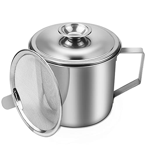 CZWESTC Stainless Steel Bacon Grease Container with Fine Mesh Strainer, Cooking Oil Storage Can with Lid, Grease Storage Pot Keeper for Kitchen Fat Storage, Frying Oils (1 Litre)