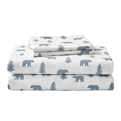 Eddie Bauer - Flannel Collection - 100% Premium Cotton Bedding Sheet Set, Pre-Shrunk & Brushed For Extra Softness, Comfort, and Cozy Feel, Queen, Bears and Trees