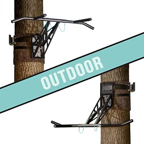 PULLUP & DIP Premium Klimmzugstange und Dip Stange, Mobil für Befestigung an Baum & Pfosten, für Outdoor im Garten und...