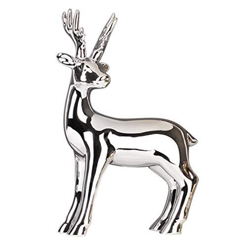 VOSAREA Christmas Reindeer Figurine Ceramic Deer Desktop Ornaments for Xmas Holiday Party Table Fireplace Shelf Decoration Silver