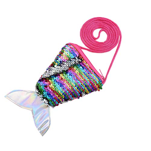 jiumoji Women Children Sequins Coin Purses Handbags Zipper Cute Portable Wallets Shopping Pouch Key Packet Best Gift Collection (-Multicolor, 16x10cm)