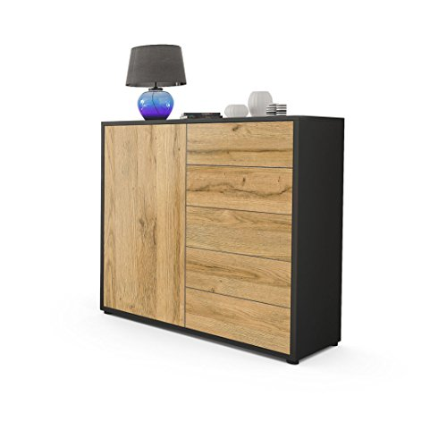 Vladon Kommode Sideboard Ben V2, Korpus in Schwarz matt/Fronten in Eiche Nature