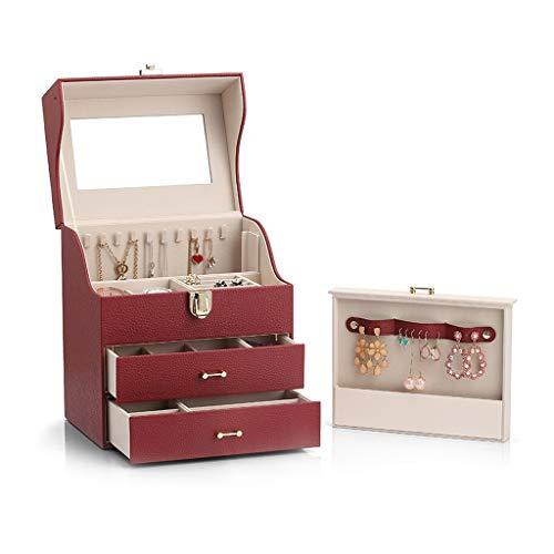 BBYTR Caja organizadora de Joyas Joyero con Espejo de Maquillaje joyero Caja de Almacenamiento de Cuero de Gran Capacidad Cajón con Vino Tinto Organizador de Viajes de joyería (Color : Red)