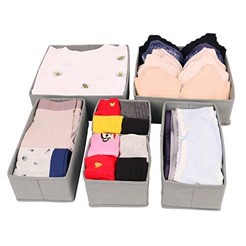 CASATOCA Unterwäsche-Organizer, Aufbewahrungsbox, Aufbewahrungsboxen für Schubladen, Faltbare Boxen für Socken und Unterwäsche, 6er Set, Grau