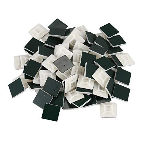 Gaetooely 100X 1 Paquete Tipo Adhesivo Cable Alambre Plomo Brida Montajes Cuadrados Clips Soporte de Pared, 19X19 Mm [Blanco]