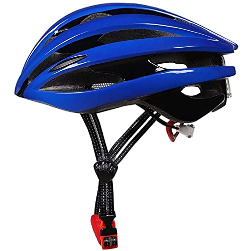 Adult Bike Helmet, Safety Protection Adjustable Breathable Light with LED Rear Light Bicycle Helmet, Suitable for Cycling Adult Men Women Youth,Blue