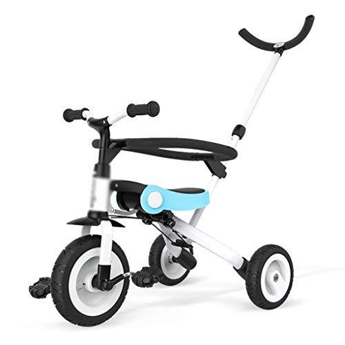 Bicicletas para niños, bicicletas, triciclo para niños, niños y niñas, scooter de preescolar de 3 ~ 10 años, bicicleta, liviana y plegable, cochecito de bebé. ( Color : Blue , Size : 55x44x59c