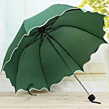 YOUDALIS Frauen-Regen-Regenschirm Weiblicher Regenschirme Griff Kreative Lotus Lace Nette Prinzessin Sunny und Rainy Anti-UV umbralla Trinkgefäße (Color : Green)