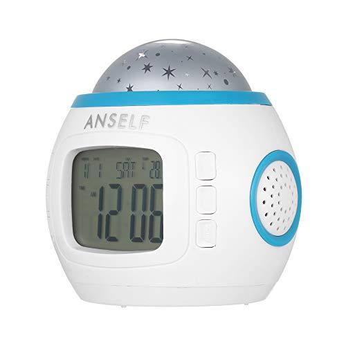 Decdeal LED Sternenhimmel Kinderwecker Kalender Thermometer Wecker mit Hübschen Klängen und Animiertem...
