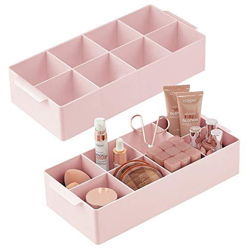 mDesign 2er-Set Kosmetik Organizer – dekorative Box mit je 8 Fächern zur Kosmetikaufbewahrung – praktische Ablage für Nagellack, Lippenstift & Co. auf Waschtisch oder Kommode – Hellrosa