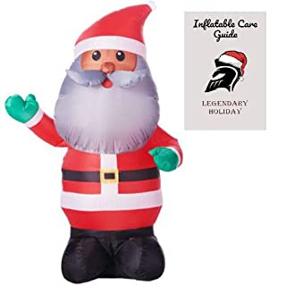 African American Santa Inflatable 4 ft with Inflatable Care Guide