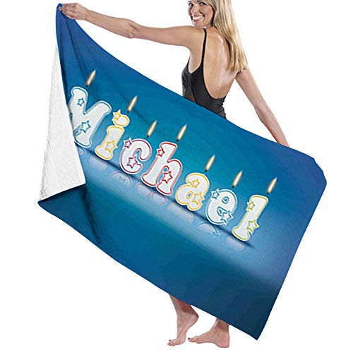 Microfiber Beach Towel Quick Dry Pool Towel,Kids Boys Name Letter Design for Delicious Birthday Party Cake Decoration,Lightweight Camping Towel Suitable for Adults Women Men