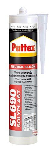 Pattex Silicona Neutra SL 690, acristalamiento estructural, color negro, 300 ml