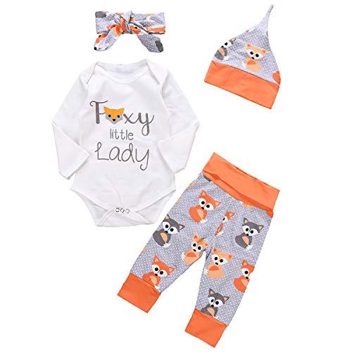 Haokaini 4 stks/Set Baby Meisjes Vos Gedrukte Outfits Lange Mouw Romper Broek Hoed Hoofdband Kleding Set
