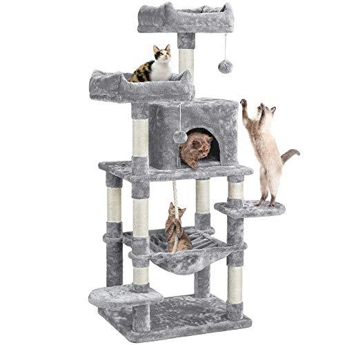 Yaheetech Tiragraffi Albero a Torre per Gatti Adulti con Giocchi 60 x 48,5 x 150 cm 2 Palline Giocattolo in Corda Sisal Naturale Grigio Chiaro