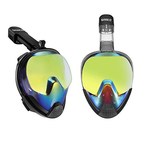 TZUTOGETHER Máscara de Buceo Anti-UV, máscara de Snorkel Full Face - Mejora la Visibilidad al Bloquear el los Rayos UV, Soporte cámara Deportiva, máscara Buceo Snorkel para Adultos y niños