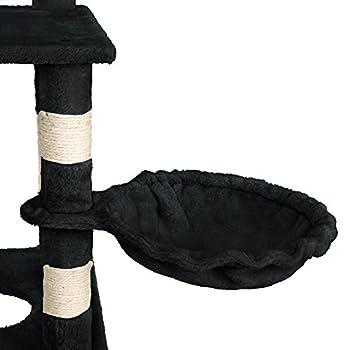 TecTake Arbre à chat griffoir grattoir geant | avec hamac et tunnel | hauteur 141 cm - diverses couleurs au choix - (Noir | No. 402277)