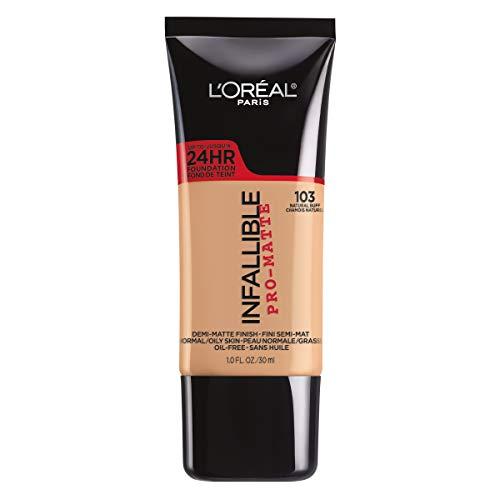 L'Oreal Paris Makeup Infallible Pro-Matte Liquid Longwear Foundation, 103 Natural Buff, 1 fl. oz.