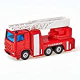 siku 1015, Feuerwehr-Drehleiter, Metall/Kunststoff, Rot, Ausziehbare Leiter