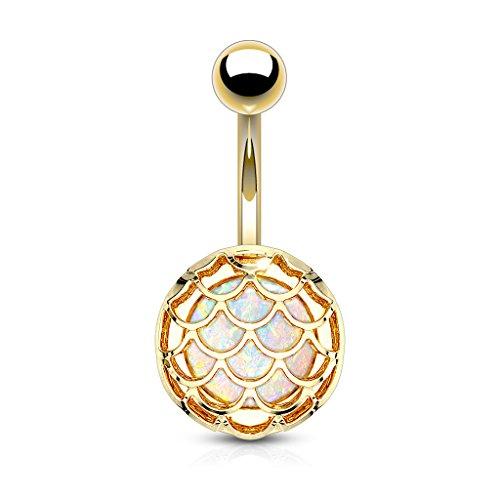 Pierced Owl Mermaid Scale Synthetic Glitter Opal Belly Button Ring in 316L...