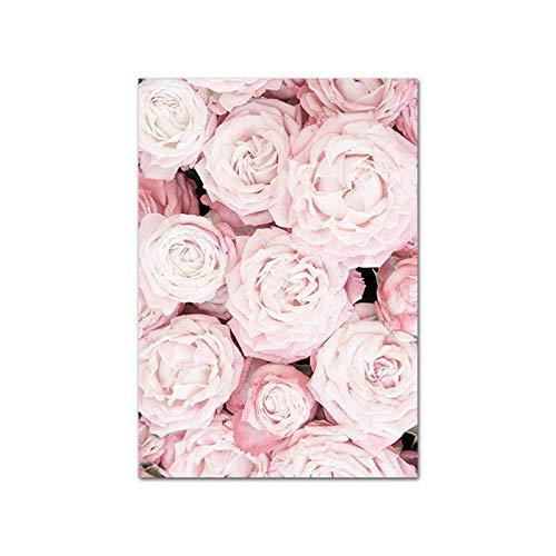 Kunstdruck auf Leinwand, nordisches botanisches Blumenmuster, skandinavisches Leinwandgemälde 60 x 90 cm a1
