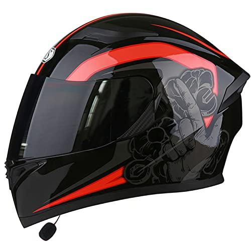 Bluetooth casco de moto integral,Casco motocicleta modular,aprobado por DOT/ECE,ligero, con doble visera cascos de motocross para niños, jóvenes, hombres, mujeres, adultos(Color:A,Size:XL=61-62CM)